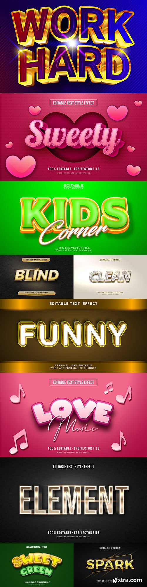 Editable font and 3d effect text design collection illustration 16