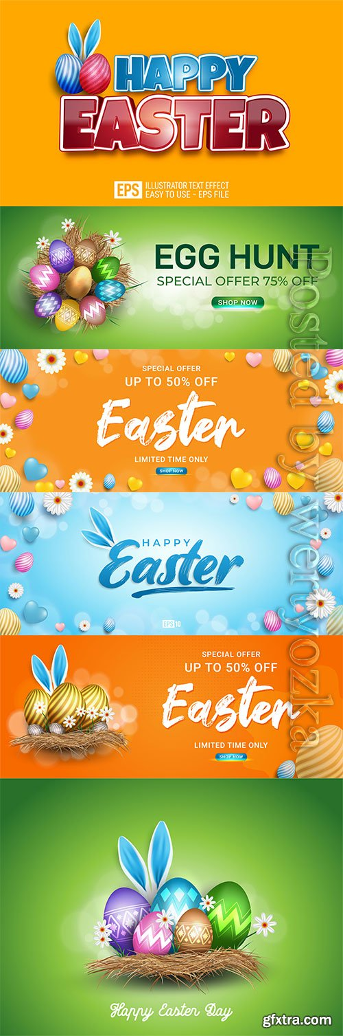 Happy easter eggs in dray grass with white flowers isolated