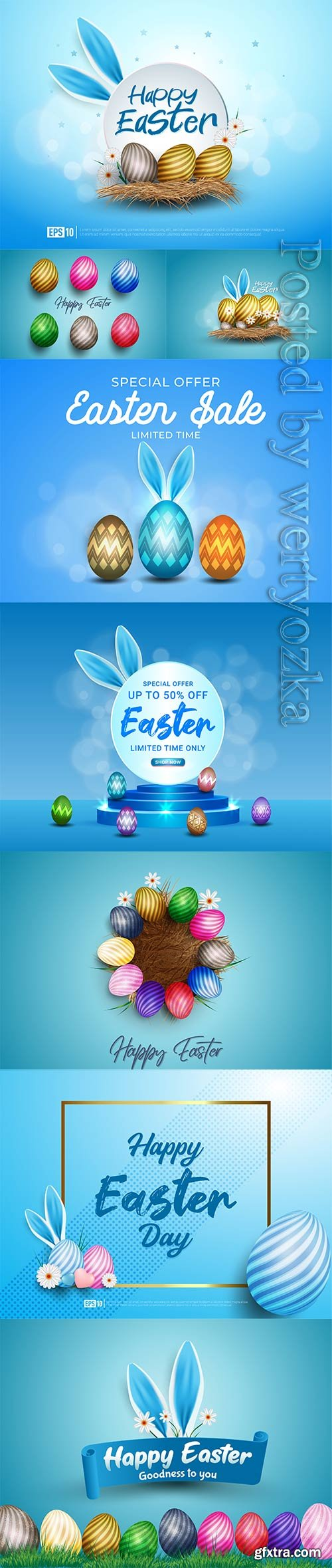 Happy easter background realistic decorated bunny ears and easter eggs
