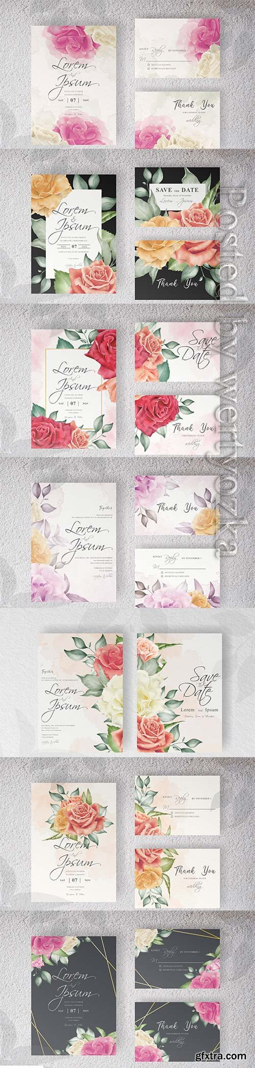 Wedding invitation with beautiful floral and watercolor