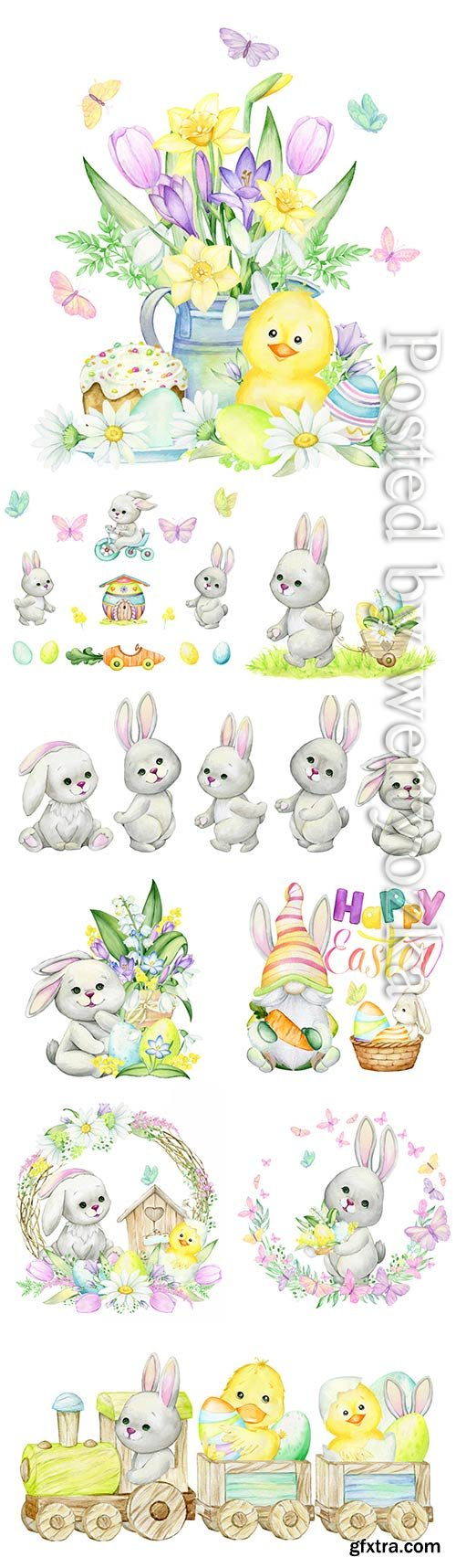 Rabbits, bicycle, easter eggs, butterflies, house, car, plant watercolor set of elements