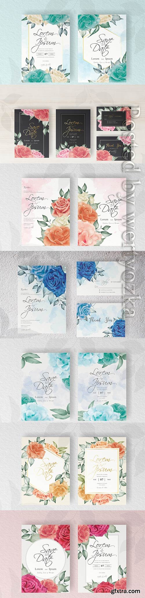 Elegant wedding invitation card template with hand painted floral and leaves