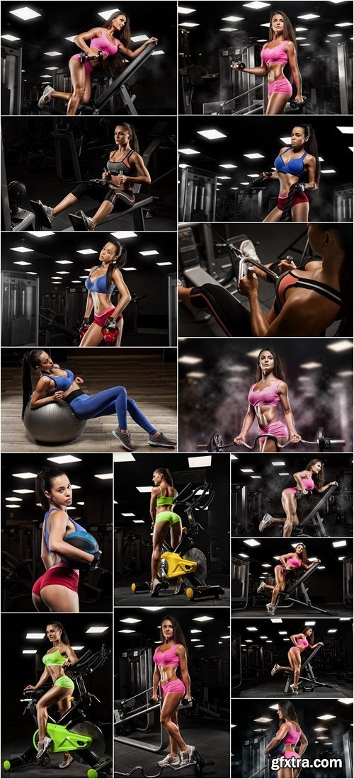 Sports girl training in the gym - 16xHQ JPEG