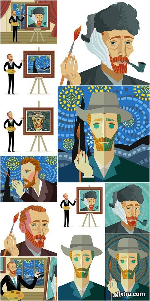 Vincent van Gogh - Vector Images - 12xEPS