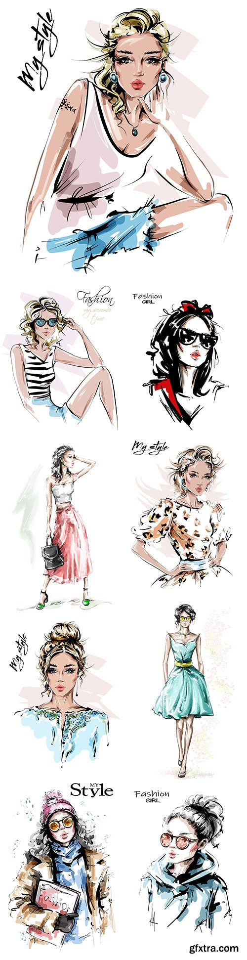 My style Hand drawn beautiful young and fashion girl 6
