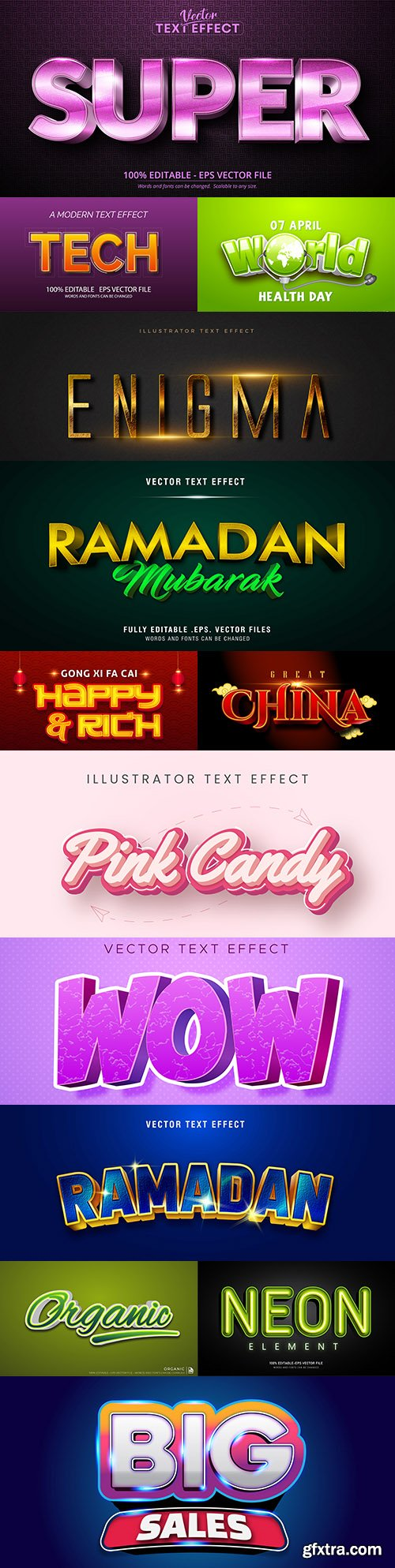Editable font and 3d effect text design collection illustration 19