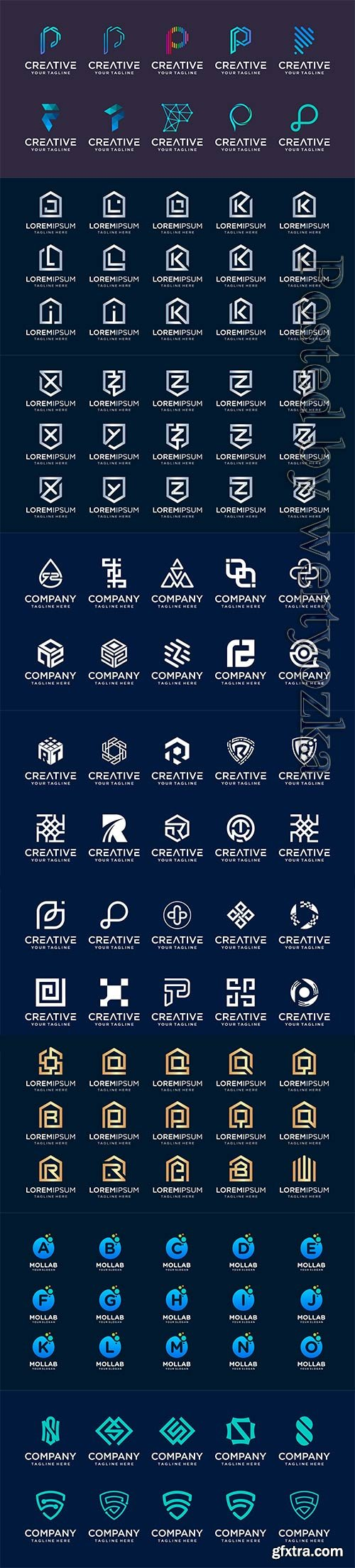 Set of initial letter vector logo template