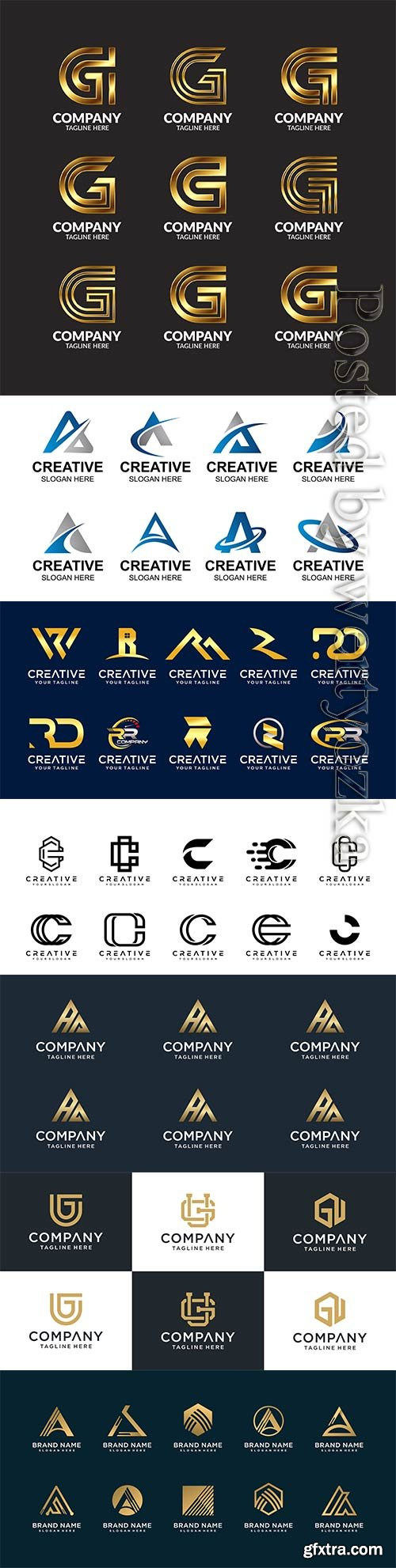 Set of creative abstract monogram letter vector logo template