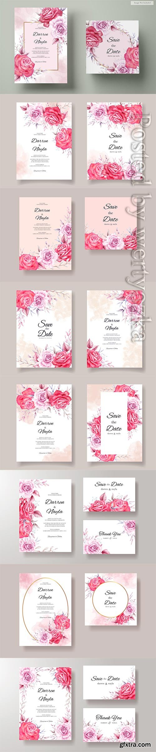 Beautiful wedding invitation with red and purple roses