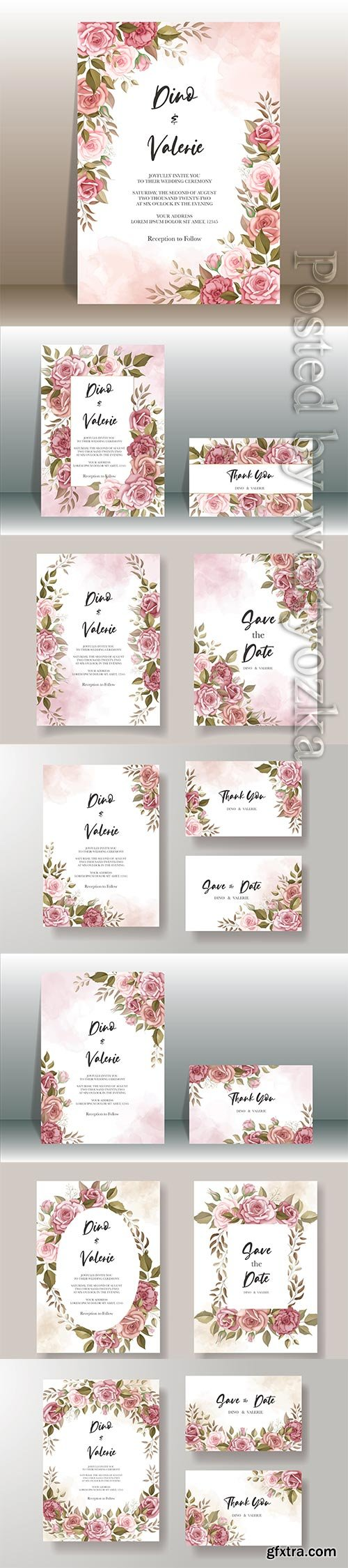 Beautiful wedding invitation card with rose decoration