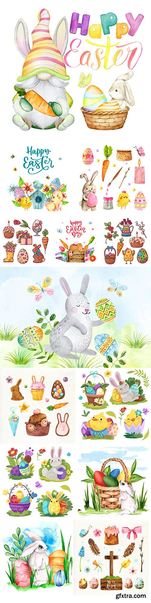 Happy Easter collection of watercolor illustrations and elements