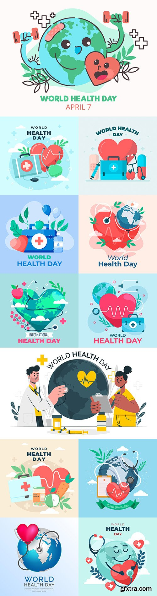 World health day with planet and heart illustration flat design