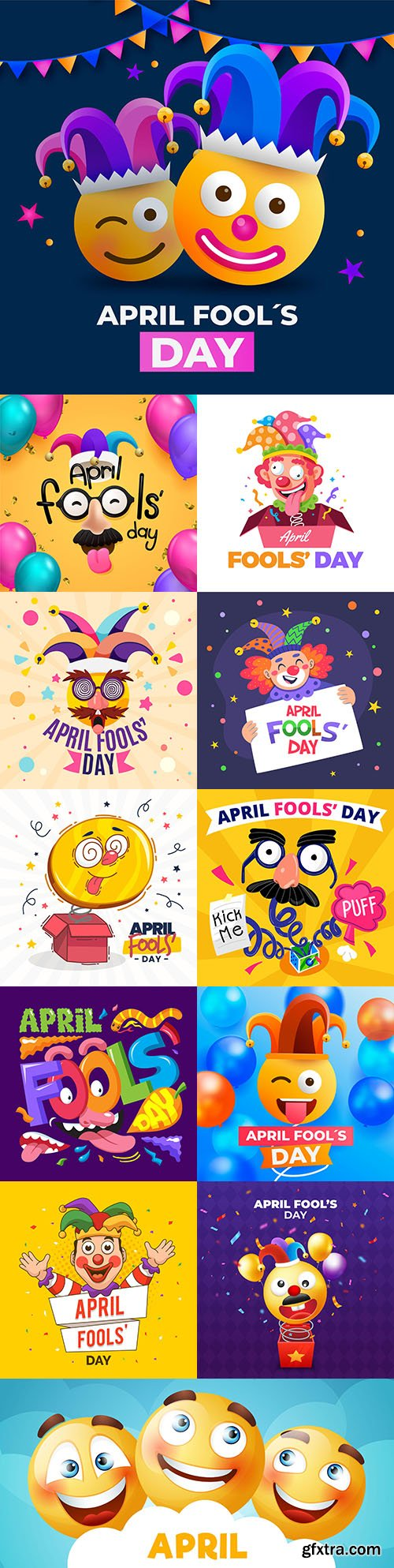 Fools day and April 1 illustration flat design