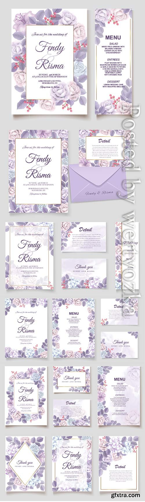Elegant vector wedding invitation floral design