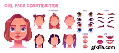 Girl face construction avatar creation set