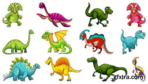 Set of different dinosaur cartoon character isolated