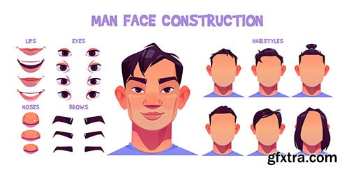 Asian man face construction avatar