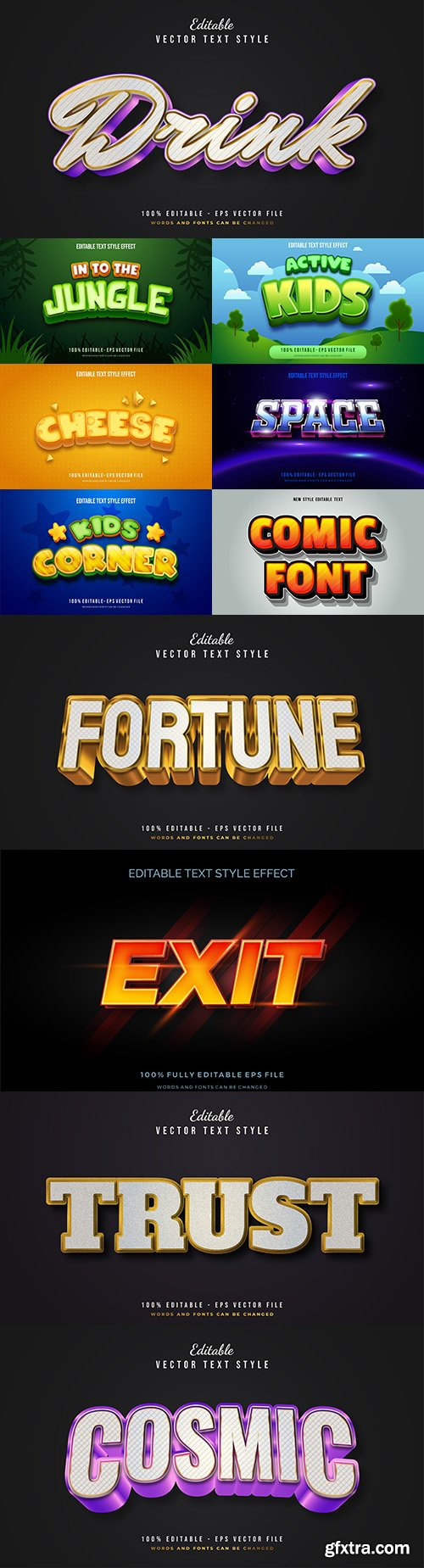 Editable font and 3d effect text design collection illustration 23