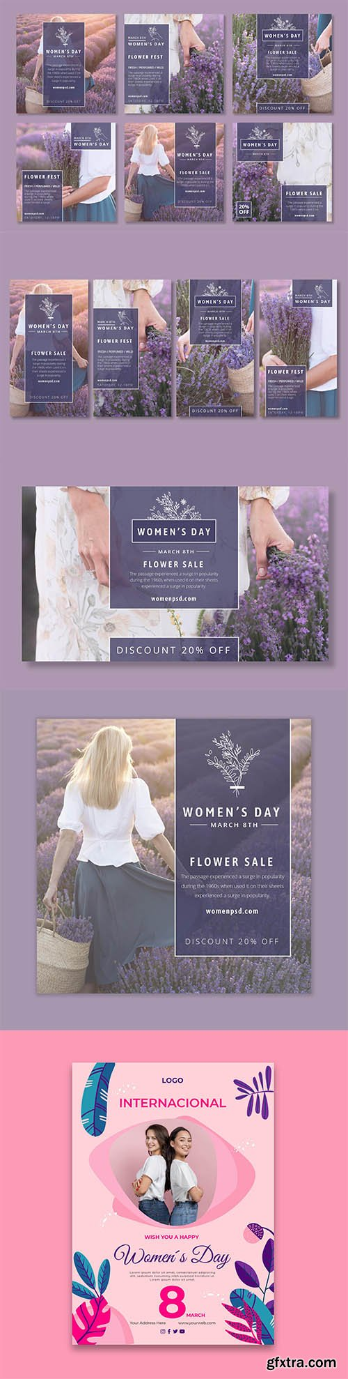 International women day poster and social template set