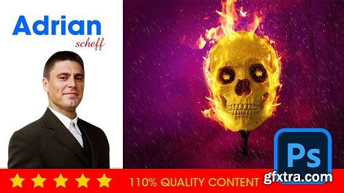 How to create a burning skull Photoshop composite