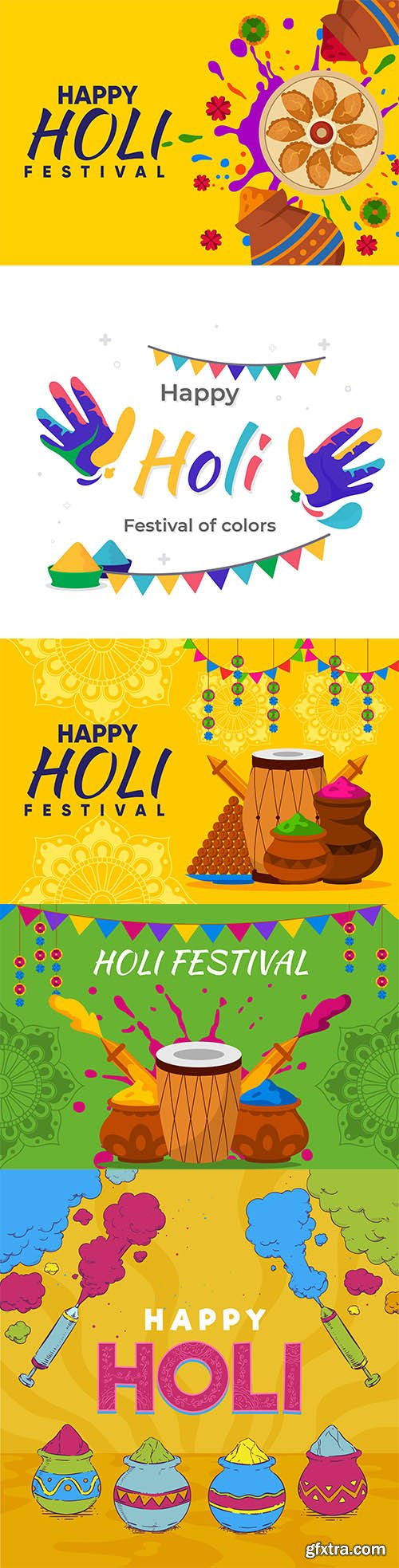 Hand-drawn holi festival illustration set