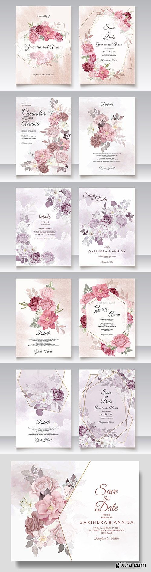 Floral wedding invitation template with elegant flowers and leaves
