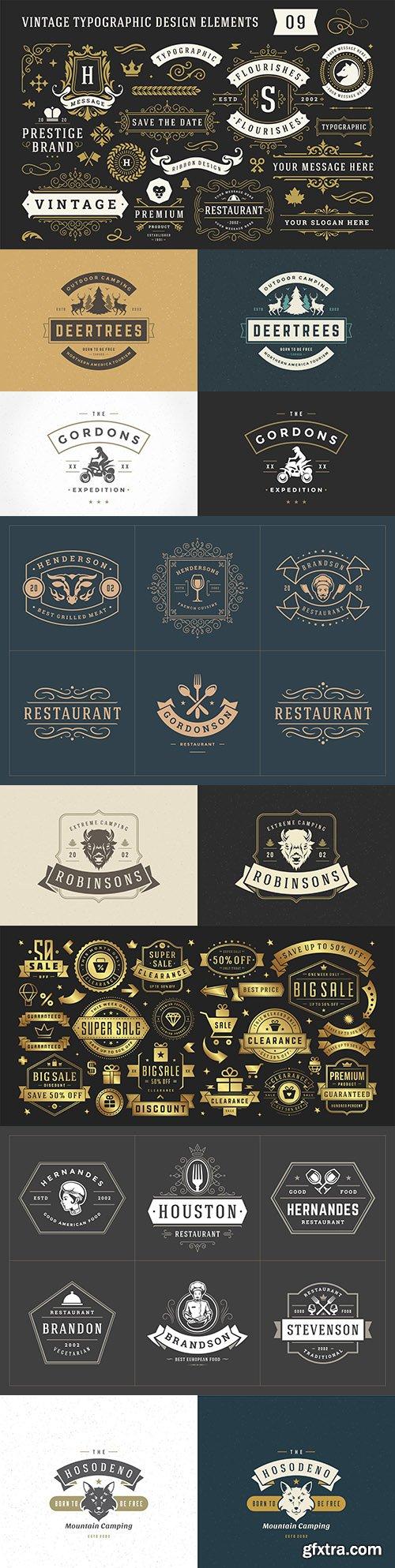 Ancient typographic decorative ornament set design elements