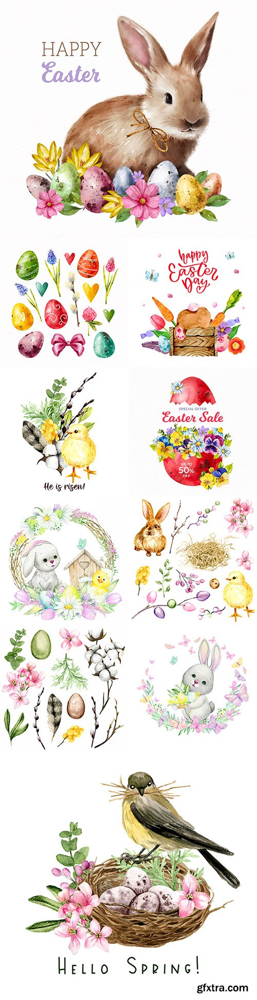 Happy Easter watercolor illustrations and elements for design