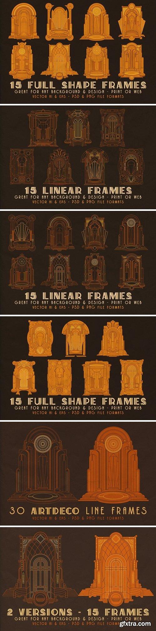 30 ArtDeco Line & Shape Frames