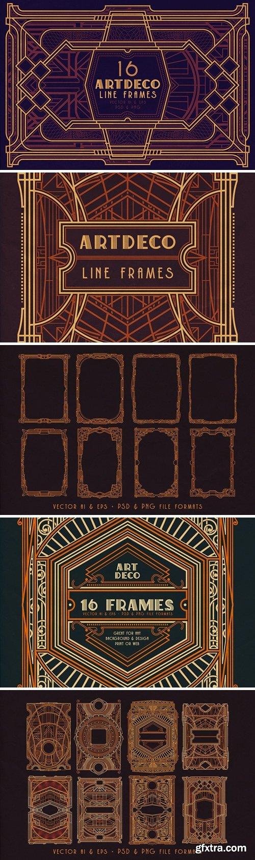 16 ArtDeco Line Frames