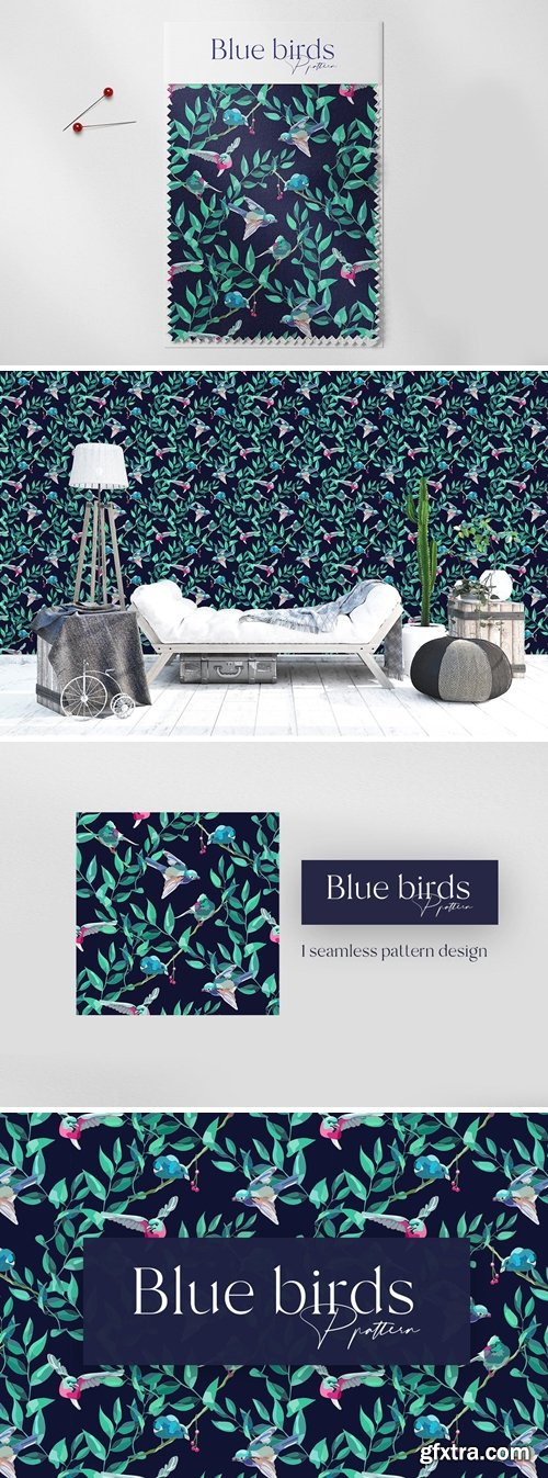Blue Birds Seamless Pattern Design