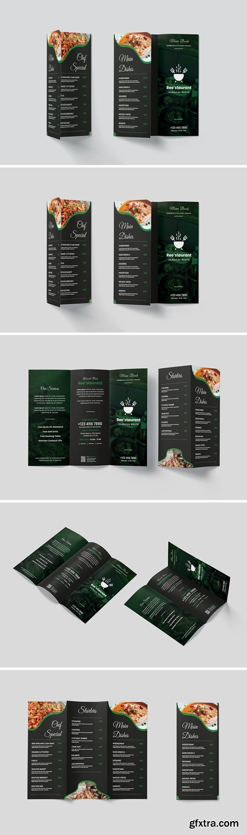 Evergreen Trifold Restaurant Menu