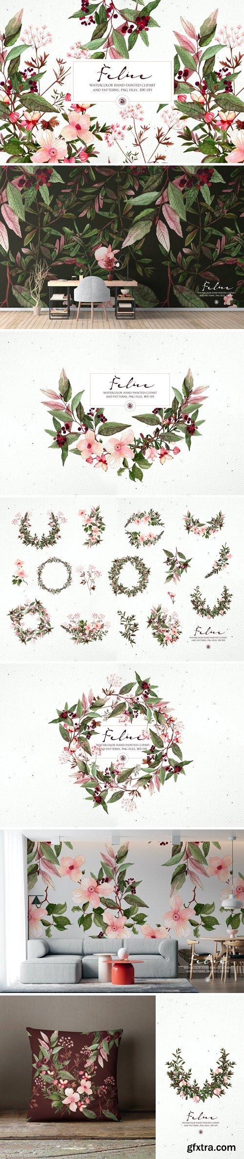 Felice - watercolor floral set