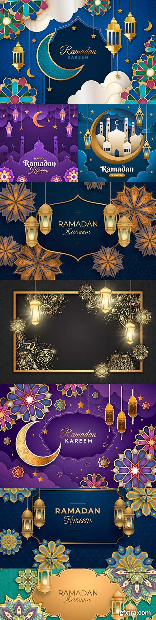 Ramadan Kareem background illustration in paper style
