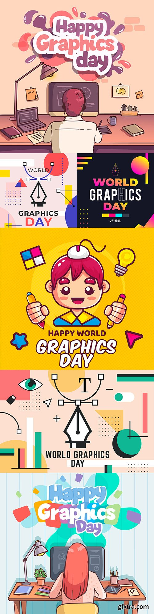 World Graphic day painted illustration flat design