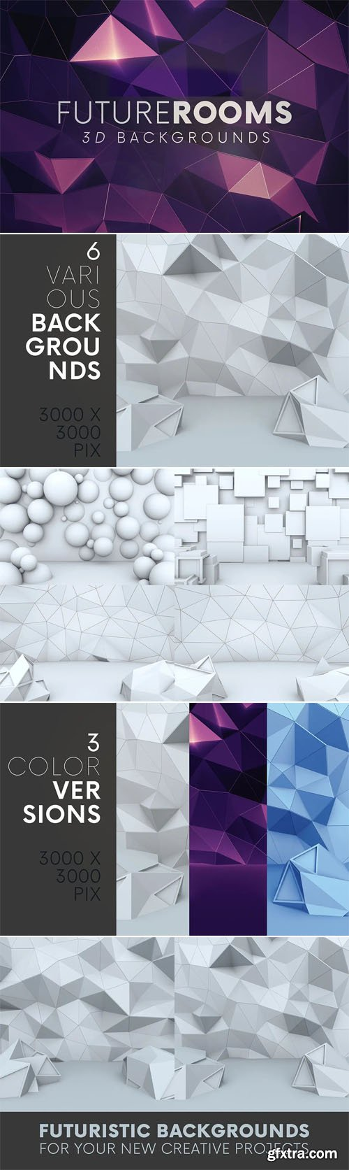 Futuristic Rooms 3D Backgrounds