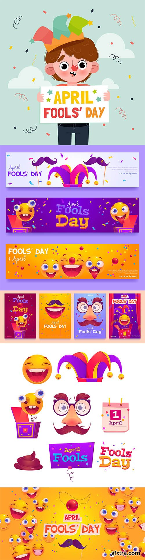 Hand-drawn april fools day vector collection