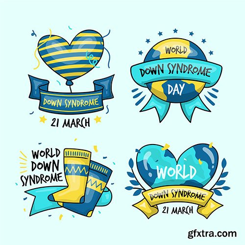 Hand-drawn world down syndrome day label collection