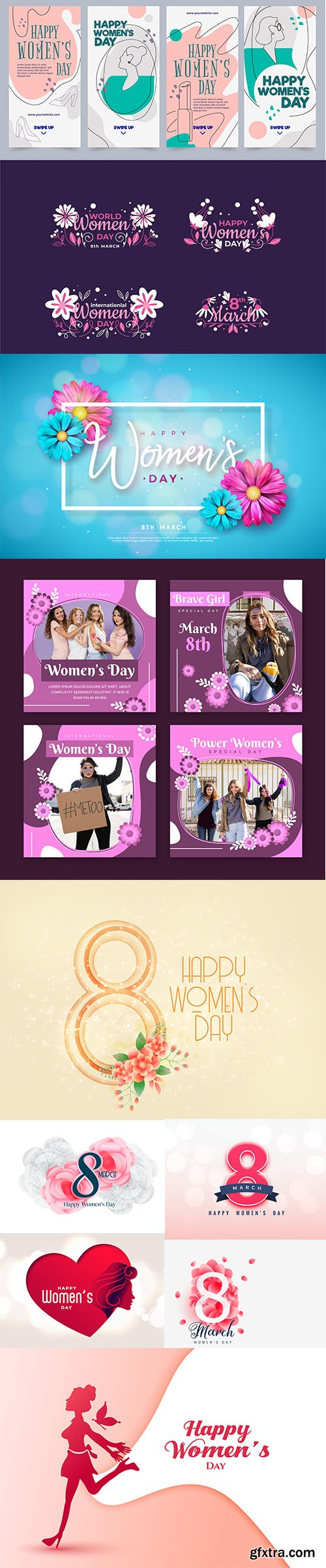 8 march happy womens day vector collection