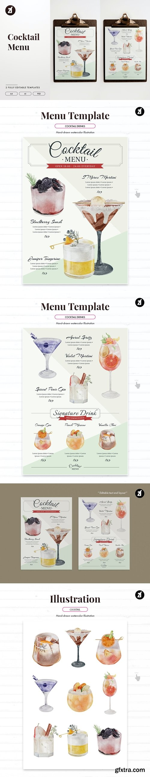 Cocktail and drinks menu template