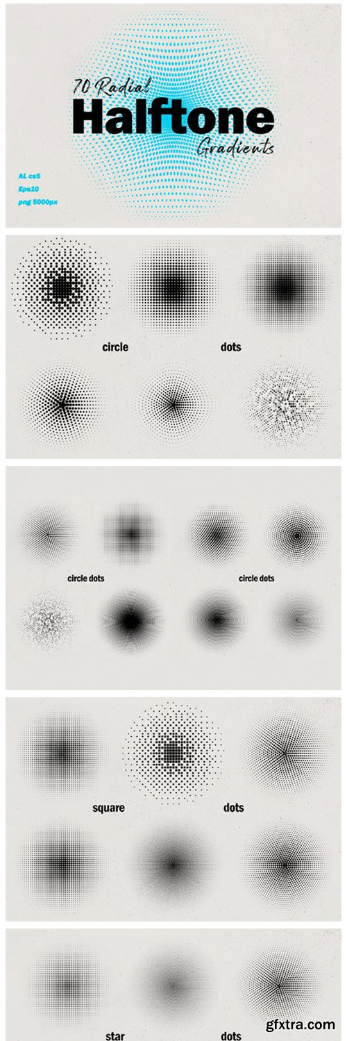 Radial Halftone Gradients Collection 8050973