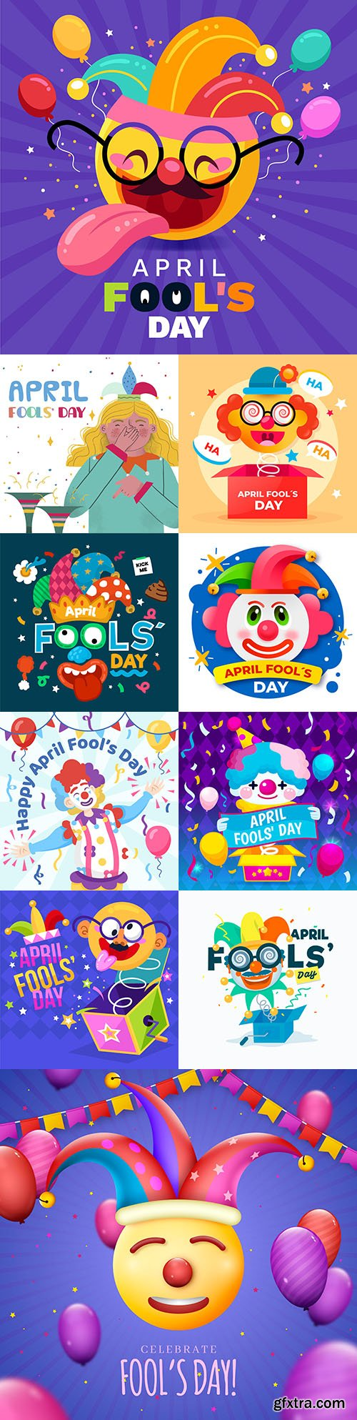 Fools day and April 1 illustration flat design 2