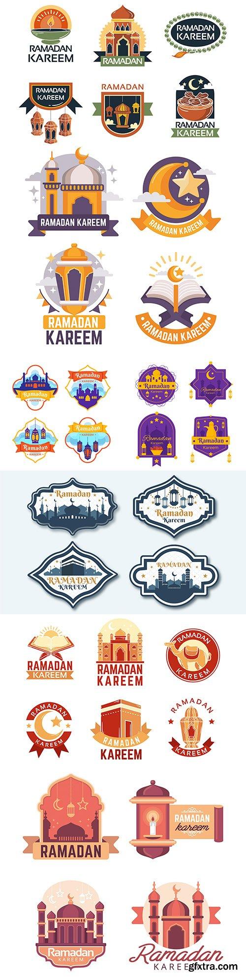 Ramadan Kareem design flat collection emblems