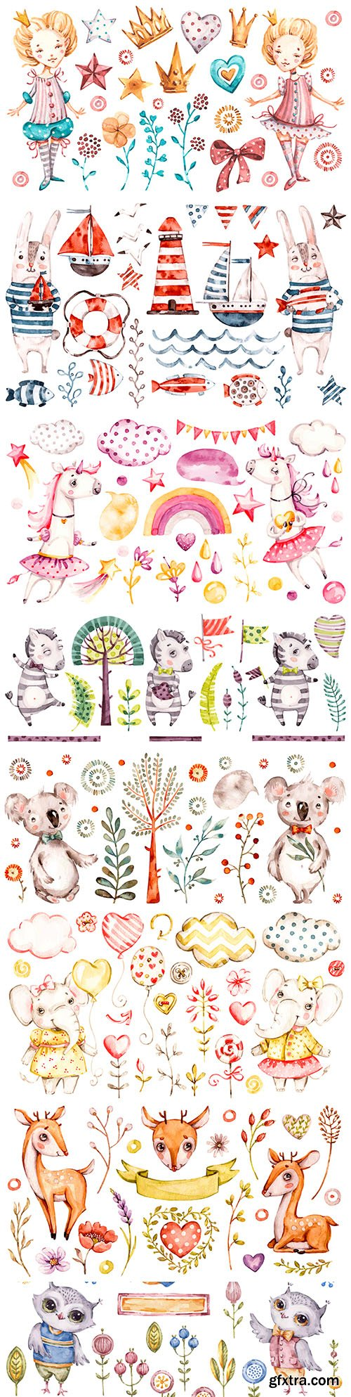 Cute animals and elements watercolor illustrations