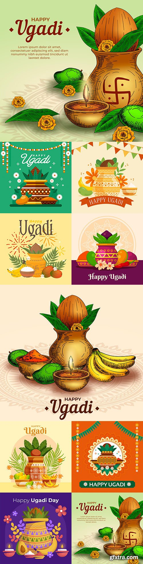 Happy Ugadi decorative illustration flat design