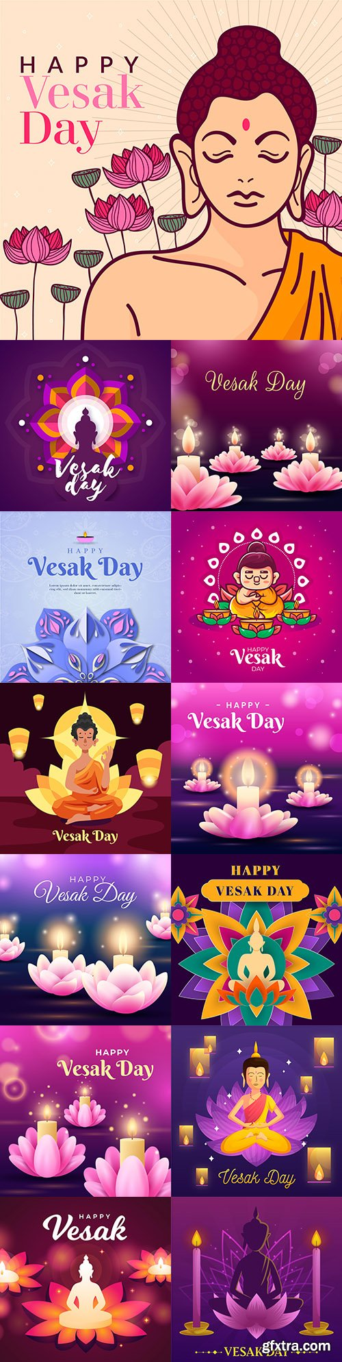 Vesak day festive illustration with flowers and candles