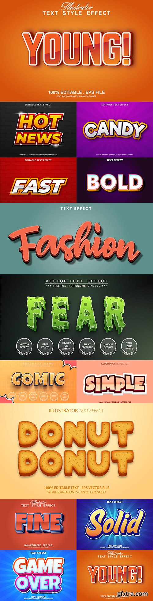Editable font and 3d effect text design collection illustration 30