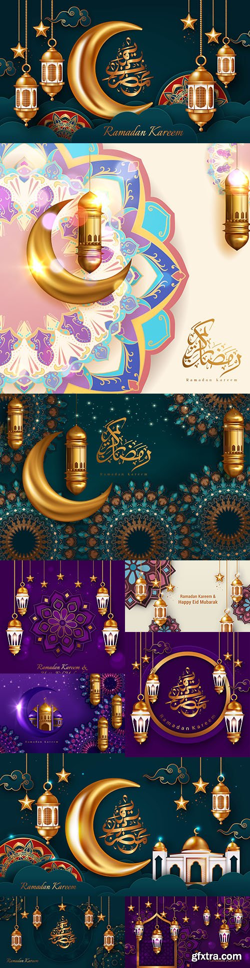 Ramadan Kareem backgrounds with golden lantern and crescent