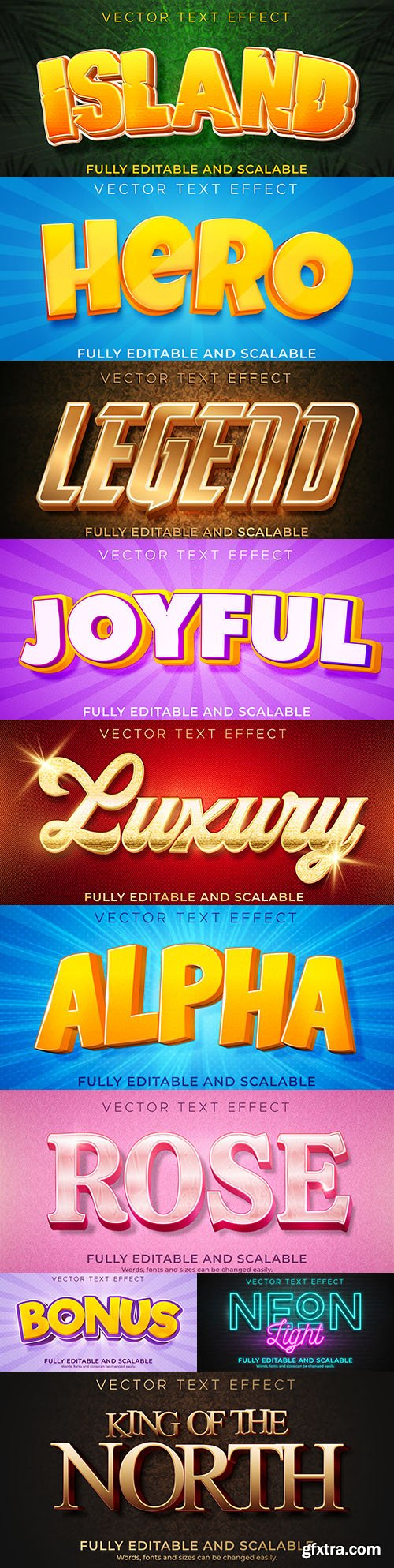 Editable font and 3d effect text design collection illustration 32