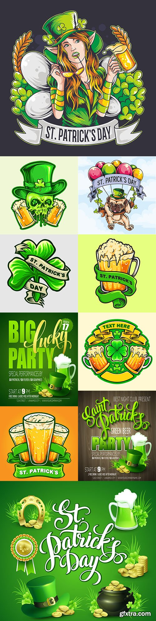 St. Patrick's Day party and design emblems illustrations 10